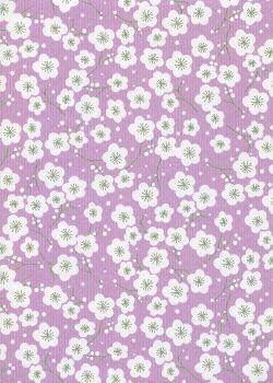 """""""Kraft fantaisie"""" cerisier en fleurs fond parme (70x100)"""