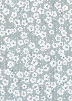 """Kraft fantaisie"" cerisier en fleurs fond gris (70x100)"