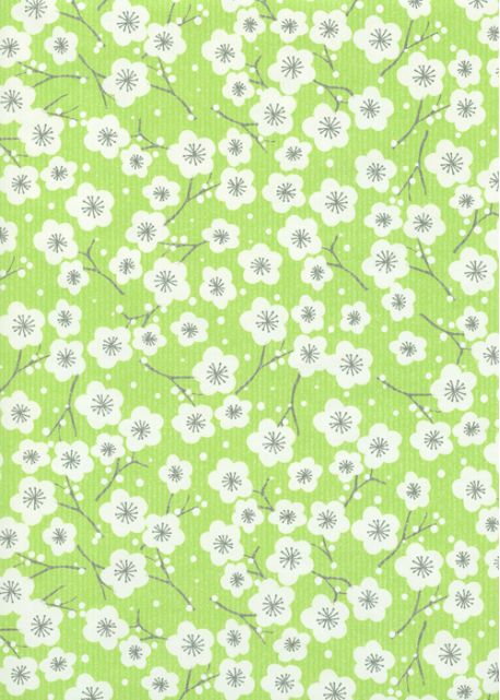 """Kraft fantaisie"" cerisier en fleurs fond vert pomme (70x100)"