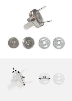 Top pression magnétique argent (Ø14mm)