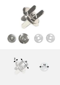 Top magnétique extra-plat argent (Ø16mm)
