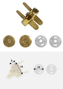 Top pression magnétique or (Ø18mm)