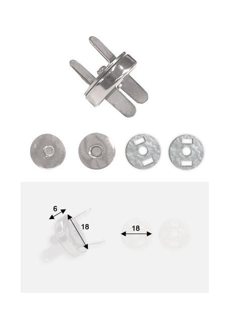 Top pression magnétique argent (Ø18mm)