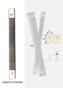 Poignées de valise à recouvrir argent (170mm) + clous de fixation + embouts