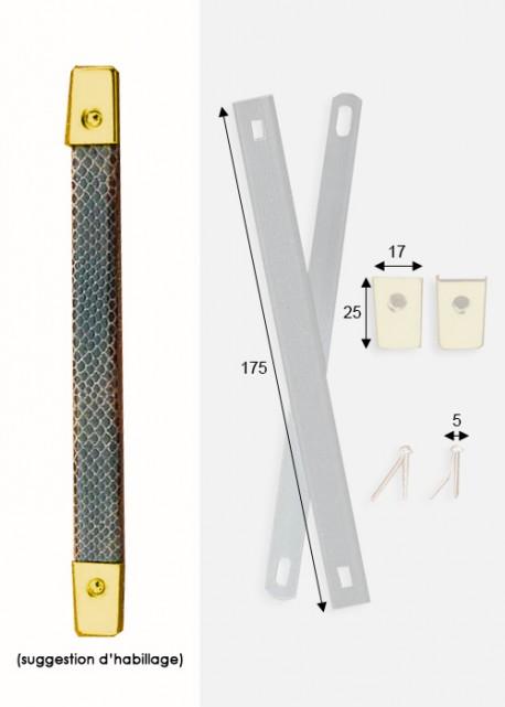 Poignées de valise à recouvrir or (170mm) + clous de fixation + embouts