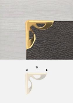 """Angles papillon découpés or """"redorés"""" (14x14mm)"""