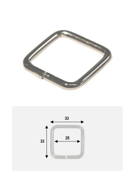 Anneaux carrés de maroquinerie argent (25x25)