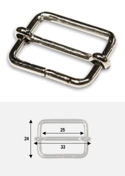 Boucles rectangles argent p/bride de maroquinerie de 25mm (25x18mm)