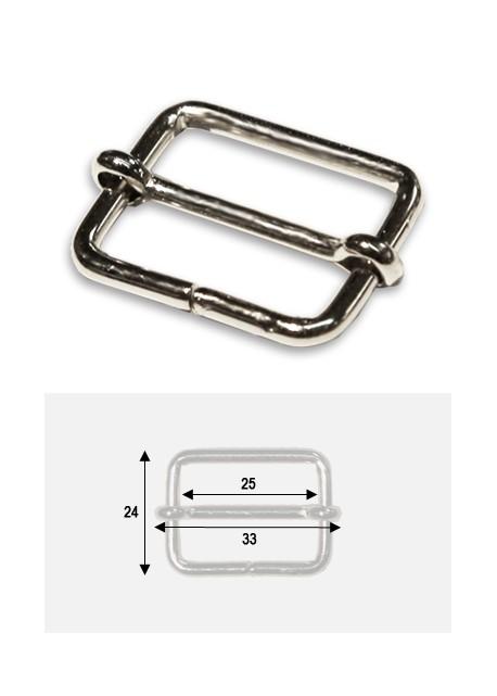 Boucles rectangles argent p/bride de maroquinerie de 25mm