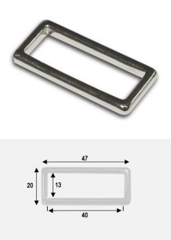 Anneaux rectangles de maroquinerie argent poli (40x10mm)