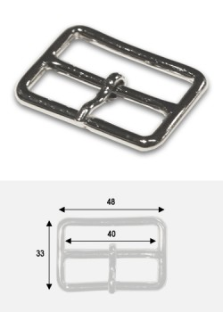 Boucle rectangle argent p/ bride de maroquinerie de 40mm (50x35mm)