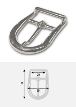 Boucle arrondie argent p/bride de maroquinerie de 25mm (50x35)