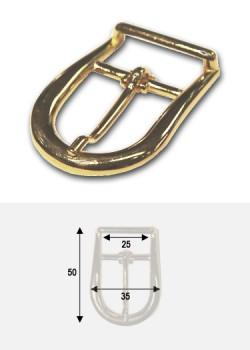 """Boucle arrondie or """"redoré"""" p/bride de maroquinerie 25mm (50x35)"""