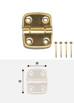 Charnières métal doré (30x25mm) + clous de fixation