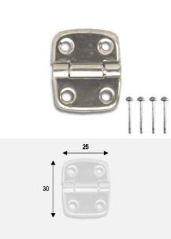 Charnières métal argent (30x25mm) + clous de fixation