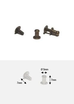 Boutons bronze PM + vis (Ø5mm H:7mm)
