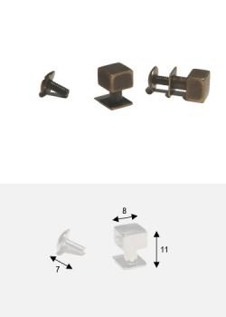Boutons cube bronze + vis (8x8mm H: 11mm)