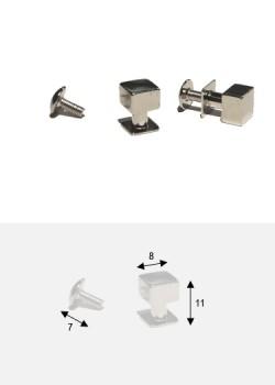 Boutons cube argent + vis (8x8mm H: 11mm)