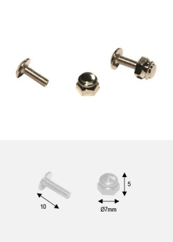 Boutons écrou argent p/fixation (Ø7mm H:5mm) + vis (10mm)