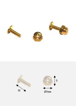 Boutons écrou laiton p/fixation (Ø7mm H:5mm) + vis (10mm)