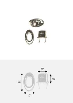 Serrure tourniquet ovale argent poli (23x17mm)