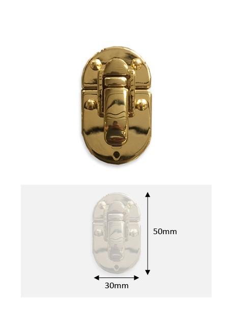 Fermoir cliquet ovale or redoré (30x50mm) + clous de fixation