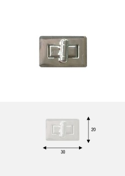 Serrure tourniquet rectangle argent (30x20mm)