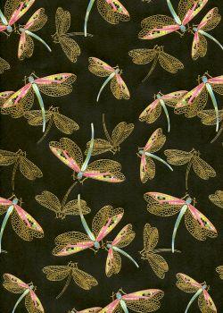 Les libellules dorées fond noir