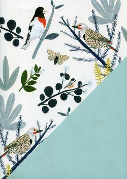 """Recto verso """"les oiseaux d'hiver / uni bleu"""" (50x70)"""