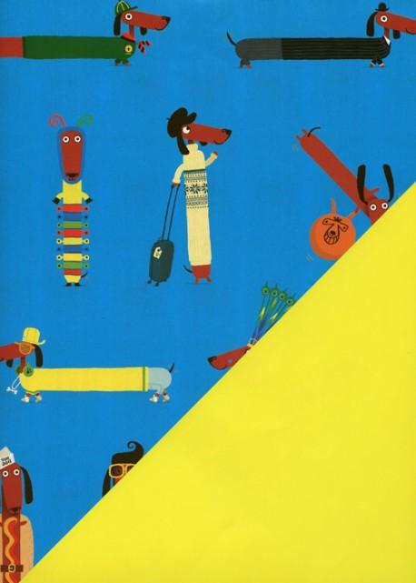 "Recto verso ""la mode teckel /uni jaune"" (50x70)"