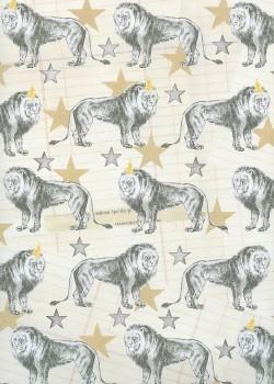 Les lions fond vanille réhaussé d'étoiles argent (68,5x98)