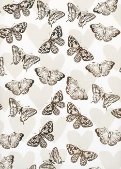 Les papillons argent sur fond de coeurs (68,5x98)