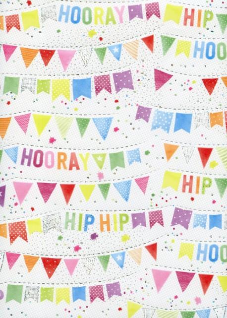 Les banderoles hip hip hip hourra réhaussé argent (68,5x98)