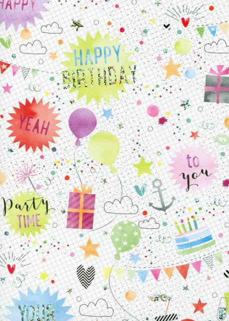 Happy birthday party réhaussé argent (68,5x98)