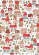 Les petites maisons de Noël réhaussé or (48x68)