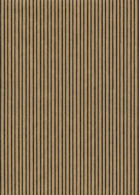 """Kraft fantaisie"" Les fines rayures noires fond kraft (70x100)"