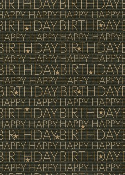 """""""Kraft fantaisie"""" Happy birthday kraft fond noir (70x100)"""