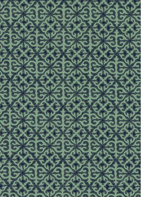 Baroque bleu indigo fond menthe (50x70)