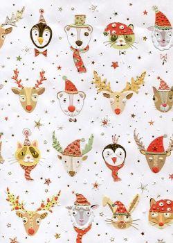 Papier Turnowsky les animaux de Noël réhaussés or (50x70)
