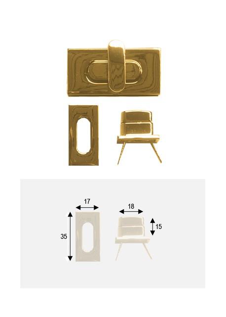 Serrure tourniquet design or poli (35x17)