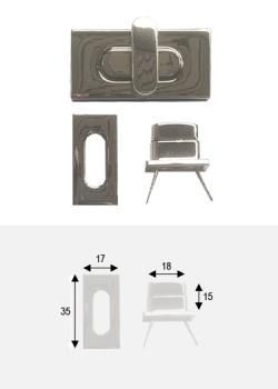 Serrure tourniquet design argent poli (35x17)