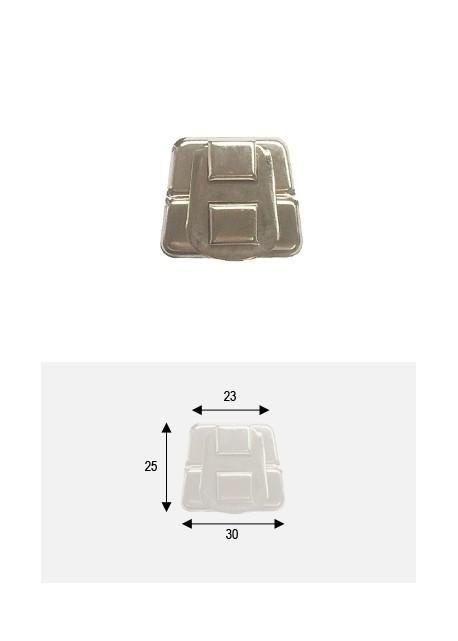 """Fermoir cliquet """"trapèze"""" à griffes argent (23x30)"""