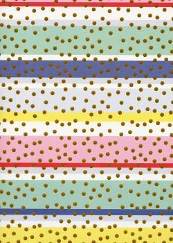 Pois or sur fond bayadère multicolore (68x98)