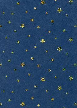 Voile intissé bleu étoiles pailletées or (50x70)