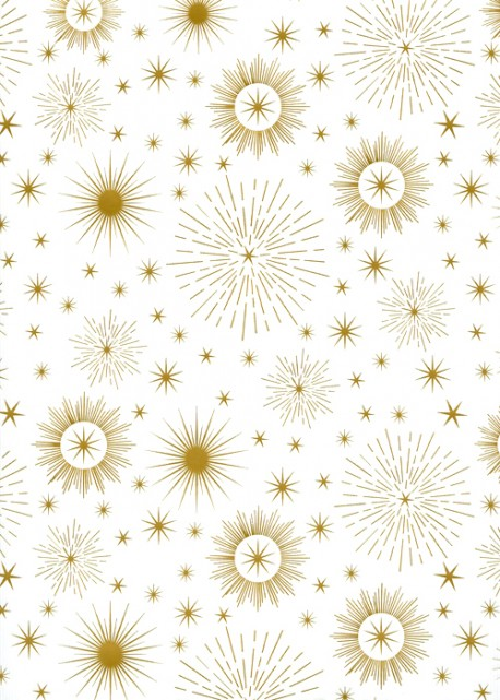 Ciel d'étoiles or sur fond strié blanc (48x68)