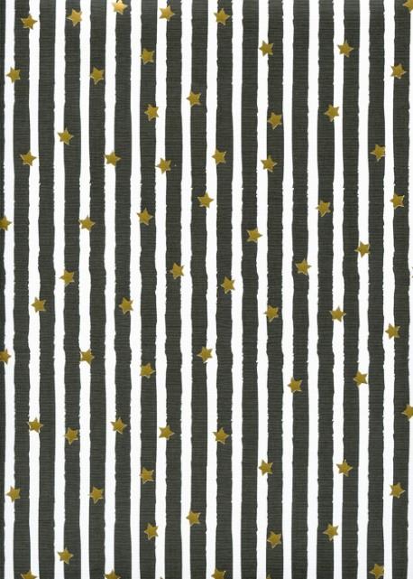 Les étoiles or sur fond toilé rayé noir et blanc (48x68)