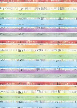 Les rayures happy birthday réhaussé argent (48x68)
