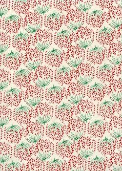Lokta bouquet de fleurs rouges fond ivoire (50x75)