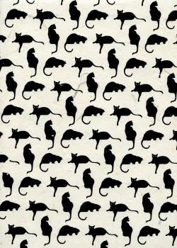 Lokta les chats noirs sur fond ivoire (50x75)