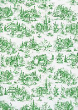 Toile de jouy village de france vert (65x100)